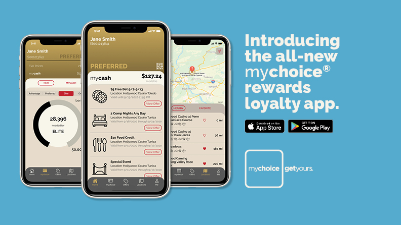 "Smart phones showing screengrabs of the mychoice app, text: ""Introducing the all-new mychoice rewards loyalty app"", Apple App Store & Google Play logos; mychoice logo with text: ""Get yours"""